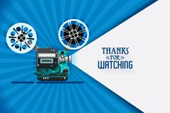 Cinema movie title screen vector. Cinema movie title screen concept. Thanks for watching. Vector design with retro looking movie projector with film reels and Stock Image