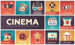 Cinema and movie - vector modern flat design icons set. Cinema - set of modern vector flat design icons with gradient colors. Movie production symbols 3d glasses Royalty Free Stock Photo