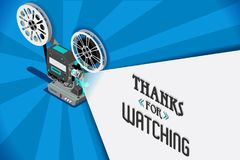 Cinema movie vector video clip. Cinema movie title screen concept. Thanks for watching. Vector design with retro looking movie projector with film reels and Stock Photography