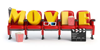 Cinema, movie video concept. Row of seats with popcorm, glasses Royalty Free Stock Image