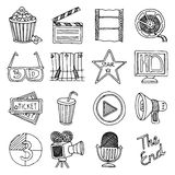 Cinema movie vintage icons set Stock Images