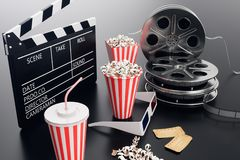 Cinema movie watching. Composition with 3d glasses, movie clapper, film reel, popcorn and filmstrip Cinema concept. Banner for your design. 3D illustration royalty free illustration