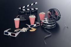 Cinema movie watching. Composition with 3d glasses, movie clapper, film reel, popcorn and filmstrip Cinema concept. Banner for your design, 3D illustration royalty free illustration