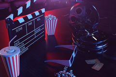 Cinema movie watching. Composition with 3d glasses, movie clapper, film reel, popcorn and filmstrip. Cinema concept wtih. Blue light. Red chairs in the cinema royalty free illustration