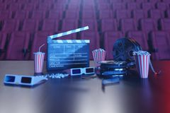 Cinema movie watching. Composition with 3d glasses, movie clapper, film reel, popcorn and filmstrip. Cinema concept wtih. Blue light. Red chairs in the cinema stock illustration