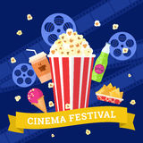 Cinema and movies icon set. Vector flat movie elements with popcorn, drink, snacks and ice cream. Concept cinema Stock Photos