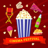Cinema and movies icon set. Vector flat movie elements with popcorn, drink, snacks and ice cream. Concept cinema festival Royalty Free Stock Photos