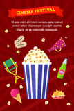 Cinema and movies icon set. Vector flat movie elements with popcorn, drink, snacks and ice cream. Concept cinema festival Royalty Free Stock Photography