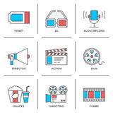 Cinema and movies line icons set. Flat line icons set of cinema shooting, movie watching, film production, leisure entertainment, 3d television and audio record Royalty Free Stock Photo