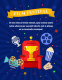 Cinema and movies poster template. Vector flat movie elements with armchair, award, camera, popcorn and a microphone. Concept cinema Royalty Free Stock Photography