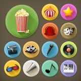 Cinema, música e teatro, grupo do ícone Foto de Stock Royalty Free