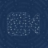 Cinema network symbol. Appealing constellation style symbol. Great network style. Modern design. Cinema symbol for infographics or presentation Royalty Free Stock Photo