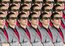 Cinema in new 3D glasses with boy spectator Royalty Free Stock Photos