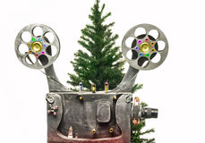 Cinema and new years tree Stock Photography