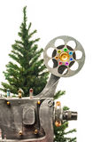 Cinema and new years tree Royalty Free Stock Photos