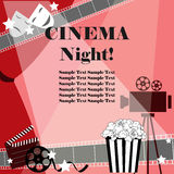 Cinema night background. Flat movie background with cinema attributes. Cinema background. Flat movie background with cinema attributes Stock Image