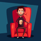 Cinema Night. Home movie watching. Cartoon vector illustration Royalty Free Stock Photography