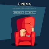 Cinema Night. Home movie watching. Cartoon vector illustration Stock Photography