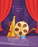 Cinema Night Illustration Royalty Free Stock Photos