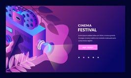 Cinema night neon gradient illustration. Vector 3d isometric design elements. Film festival banner, poster template