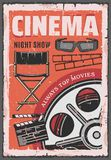 Cinema night movie, film reel, 3d glasses. Cinema night show with retro movie, vintage projector film reel and 3d glasses, film director clapper and chair. Movie vector illustration