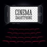 Cinema no smartphone Fundo preto Vetor Imagens de Stock