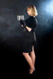 Cinema noir girl camera Royalty Free Stock Photography