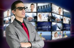 Cinema nos vidros 3D novos com espectador do menino Fotografia de Stock Royalty Free