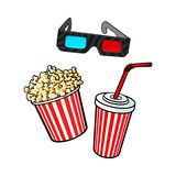 Cinema objects - popcorn bucket, 3d glasses and soda water. In paper cup, sketch vector illustration  on white background. Typical movie attributes like popcorn Royalty Free Stock Photo