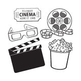 Cinema objects popcorn bucket, film roll, ticket, clapper, 3d glasses. Cinema, movie objects - popcorn bucket, film roll, ticket, clapper board and 3d glasses Royalty Free Stock Images