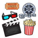 Cinema objects: popcorn bucket, film roll, ticket, clapper, 3d glasses. Cinema, movie objects - popcorn bucket, film roll, ticket, clapper board and 3d glasses Royalty Free Stock Photos