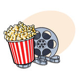 Cinema objects - popcorn bucket and retro style film reel. Cinema objects - popcorn in red and white striped bucket and retro style film reel, sketch vector Stock Photo