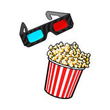 Cinema objects - popcorn and 3d, stereoscopic glasses Stock Photo