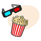 Cinema objects - popcorn and 3d, stereoscopic glasses Stock Images