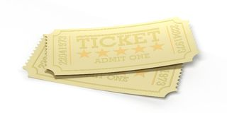 Cinema old type golden tickets isolated recycle on a white background, 3d illustration. Royalty Free Stock Image