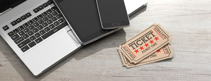 Cinema old type tickets isolated, laptop, tablet and smartphone on a wooden background, banner, 3d illustration. Stock Photos