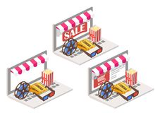 Cinema online 3d isometric vector illustration. Movie theater symbols popcorn, 3d glasses, tickets and film reel placed on laptop keyboard Stock Photos