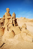 Cinema operator large sand sculpture, Portugal. Royalty Free Stock Image
