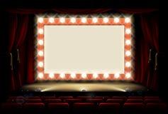 Cinema ou teatro com sinal da ampola do estilo ilustração royalty free