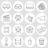 Cinema outline icons. Production film and watch movie in the cinema icons collection Royalty Free Stock Photography