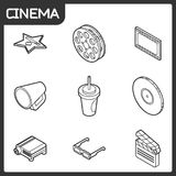 Cinema outline isometric icons. Vector illustration, EPS 10 Royalty Free Stock Images