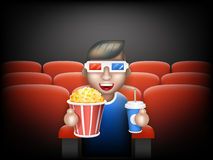 Cinema Pall 3D Glasses Big Popcorn Soda Water Male Guy Man Boy Character Sit Armchair Realistic Cartoon Flat Design Stock Photos