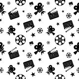 Cinema pattern black. Cinema concept seamless pattern. Flat vector cartoon cinema illustration. Objects  on a white background. Flat vector cartoon illustration Royalty Free Stock Photos