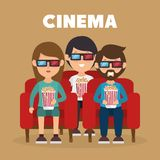 Cinema People Eating Pop Corn And Watching A Movie 3d Royalty Free Stock Images