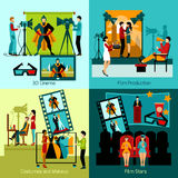 Cinema People Set. Cinema people design concept set with film production flat icons  vector illustration Stock Images