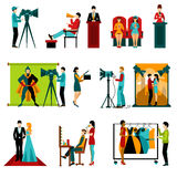 Cinema People Set. People in cinema and film making staff characters set  vector illustration Royalty Free Stock Image