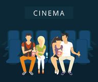 Cinema with people. People are watching film in the cinema. Flat modern illlustration of two guy with girlfriends are watching a movie sitting on the blue seats Stock Photography