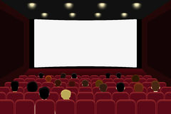 Cinema with people. People are watching film in the cinema. Vector illlustration Royalty Free Stock Images