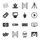 Cinema, photo 16 icons universal set for web and mobile. Flat Royalty Free Stock Photo