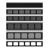 Cinema and photography 35 mm strip template set. For your text or image. Monochrome film and photo tapes collection for design, banners, text. Cinematography Royalty Free Stock Images
